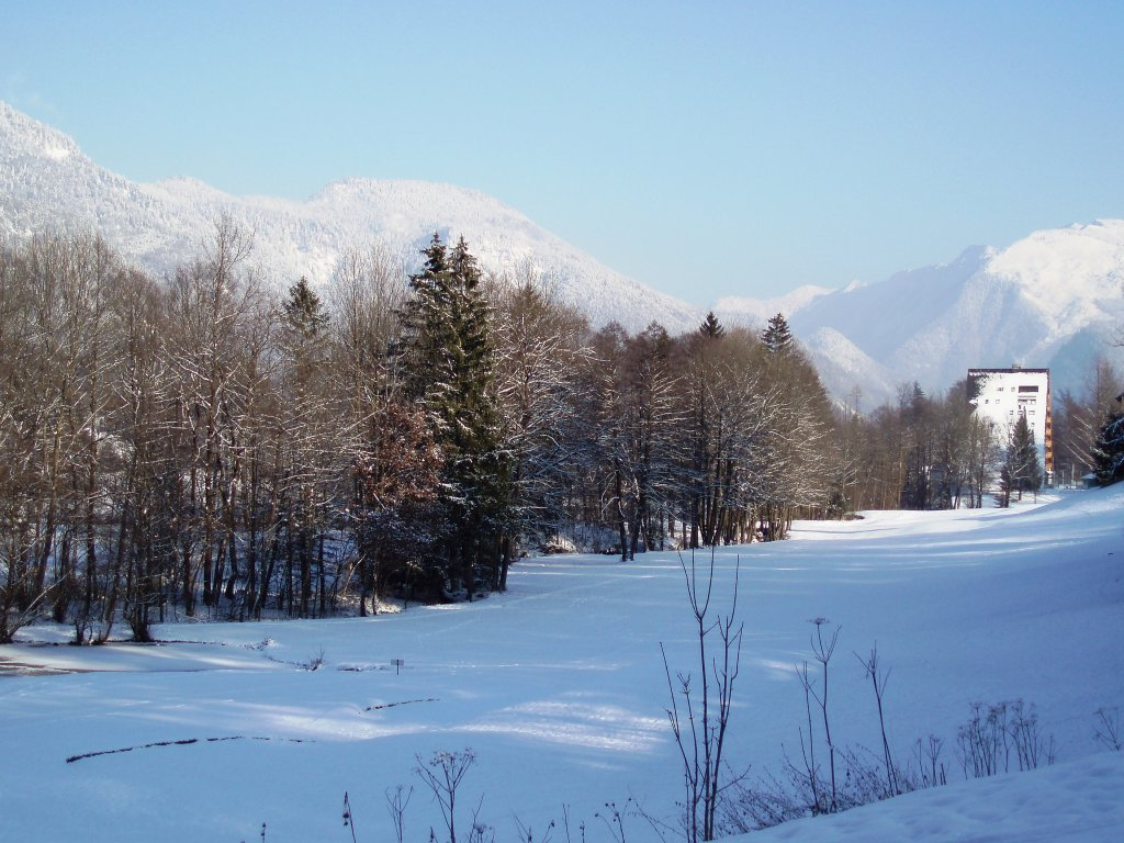 Verschneite Winterlandschaft mit dem Golfhotel im Hintergrung - Windhag, Oberösterreich (5351-OOE)