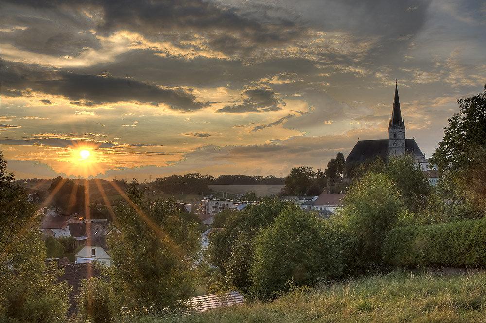 Sonnenuntergang in Haag von der evangelischen Kirche aus ... - Haag, Niederösterreich (3350-NOE)