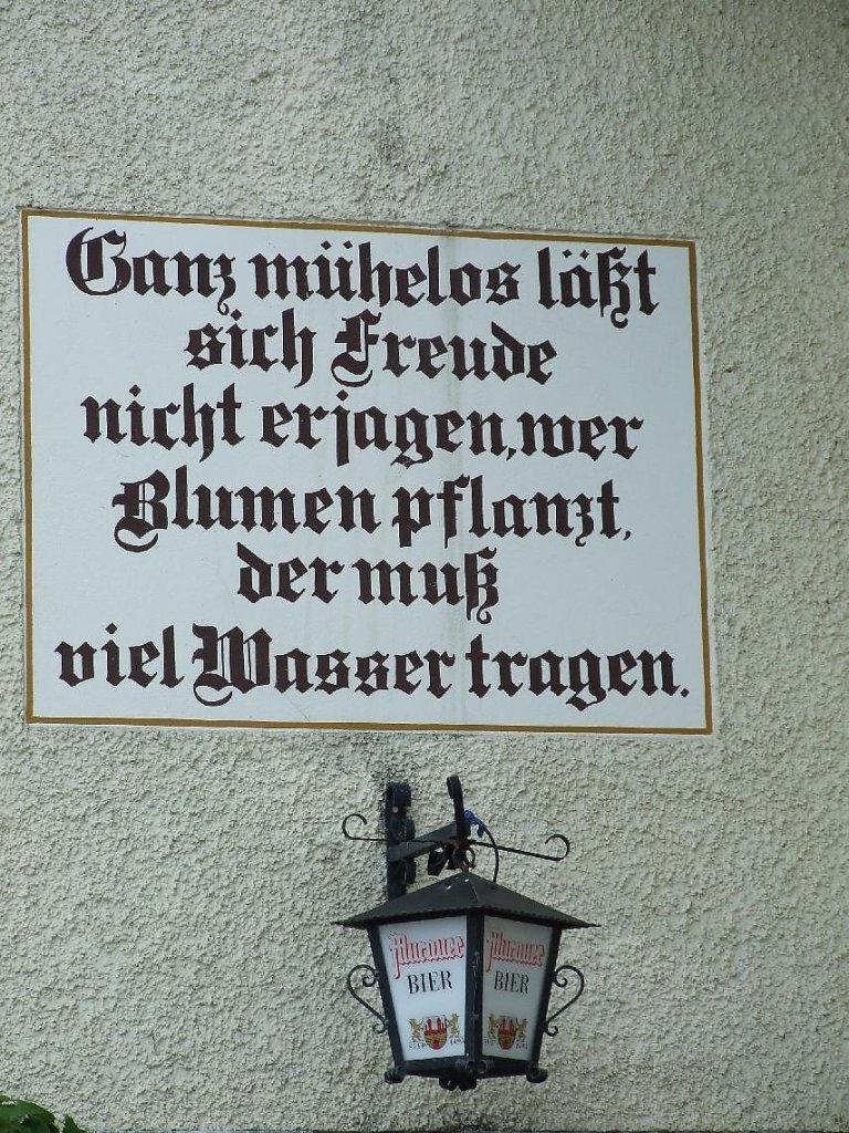 Schöne Schrift, sinnvoller Spruch August 2010 auf Radltour Muhr-Graz - Unterweißburg, Salzburg (5582-SBG)