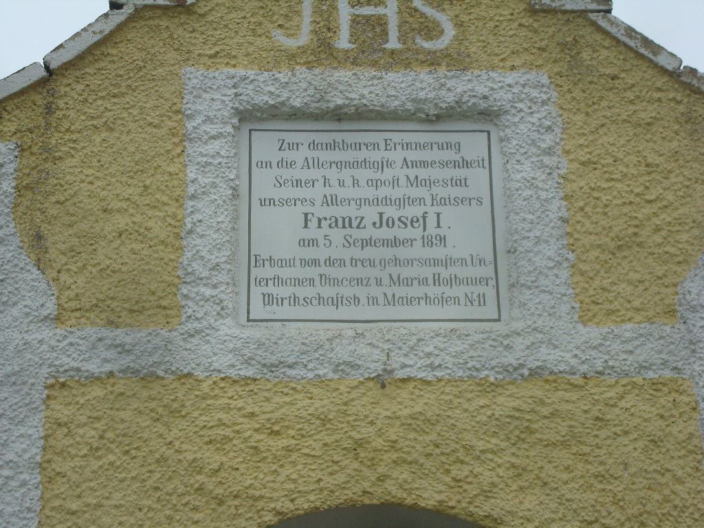 Aufschrift auf dem Kaisermarterl - Mayerhöfen, Niederösterreich (3910-NOE)