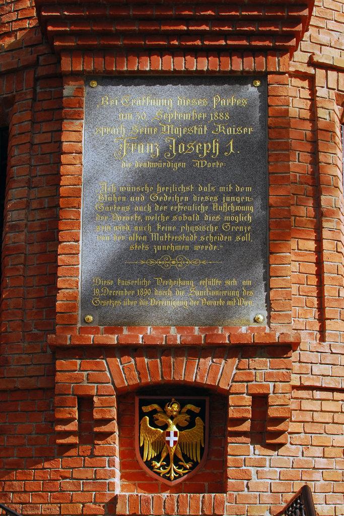 Gedenktafel an die Eröffnung des Parkes - 18. Bezirk, Währing, Wien (1180-W)