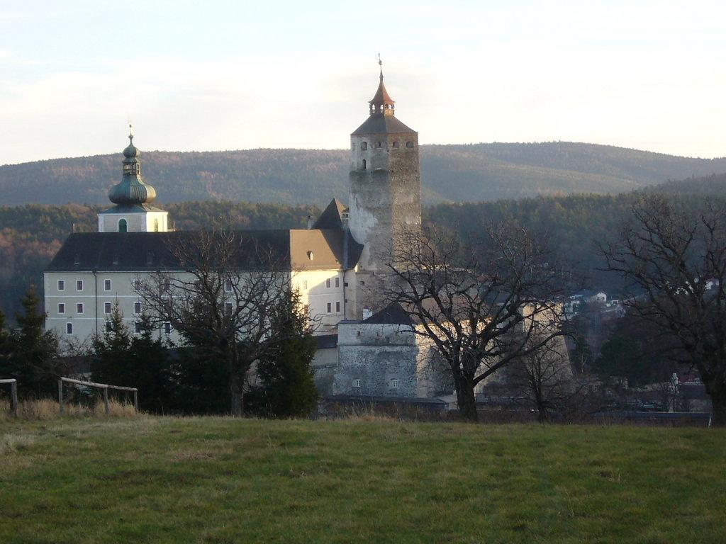 Blick auf die Burg Forchtenstein - Eingang liegt auf 505 m Seehöhe - Forchtenstein, Burgenland (7212-BGL)