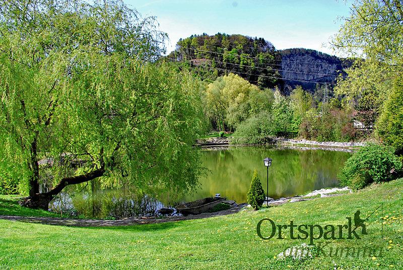 Gasthaus Ortspark am Kumma. An unserem Weiher können Sie die wirklich großen Fische fangen. - Gasserweiher, Vorarlberg (6840-VBG)