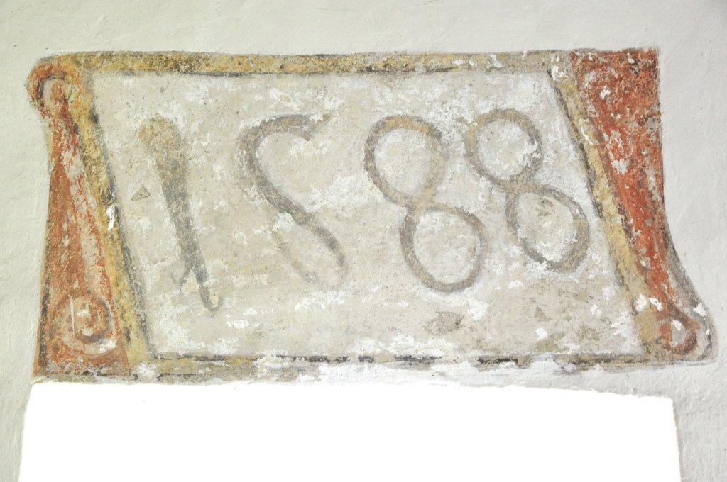 Erbauungsjahr des Kirchturms der Filialkirche heiliger Johannes Evangelist in Höllein, Jahr 1588 - Höllein, Kärnten (9341-KTN)