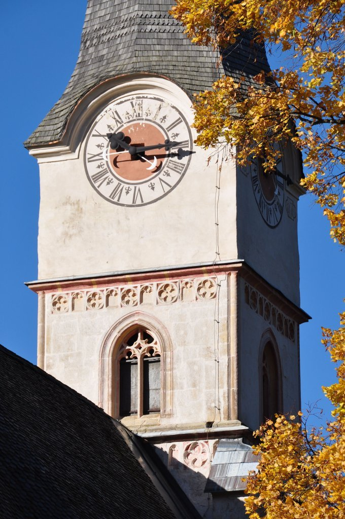 Kirchturm-Ausschnitt der Pfarr- und Wallfahrtskirche Unsere Liebe Frau - Hochfeistritz, Kärnten (9372-KTN)