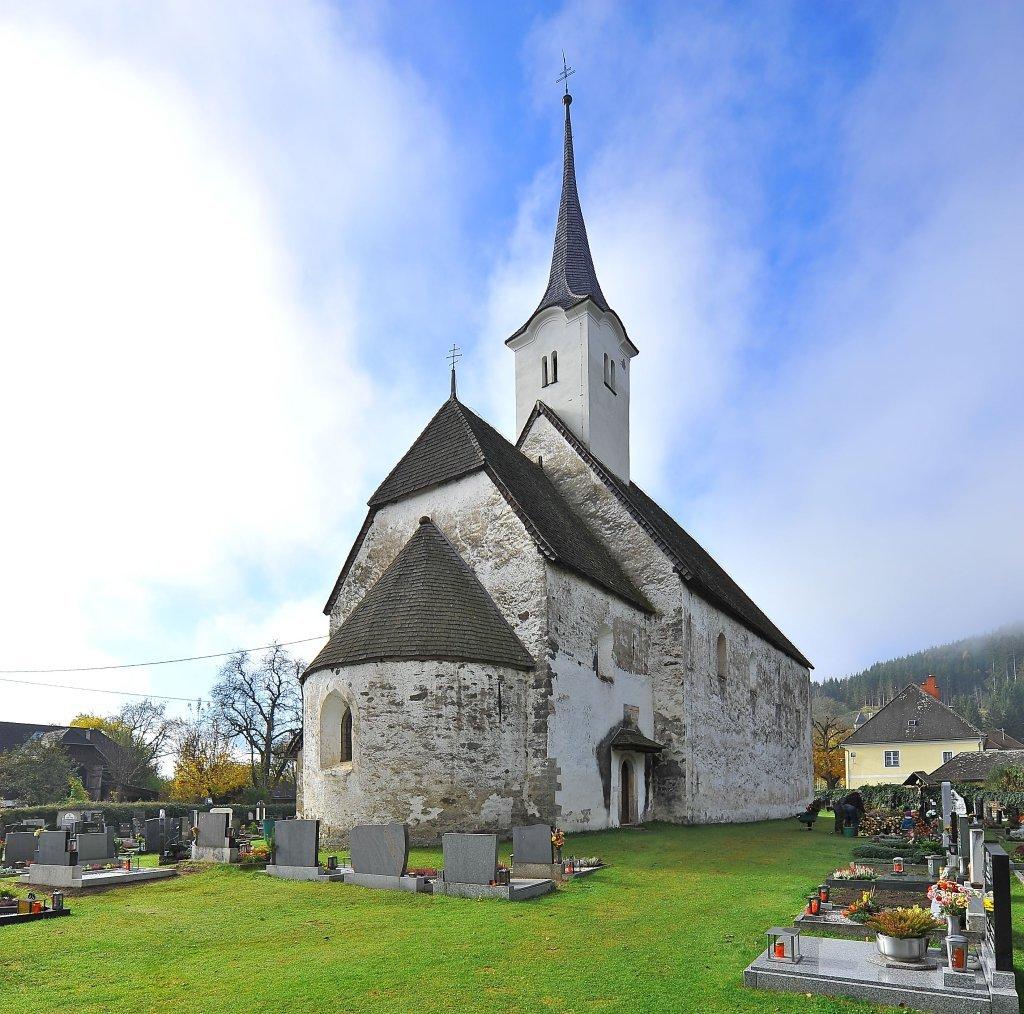 Ostnordost-Ansicht der Pfarrkirche heiliger Egydius inmitten des Friedhofs - Zweinitz, Kärnten (9343-KTN)