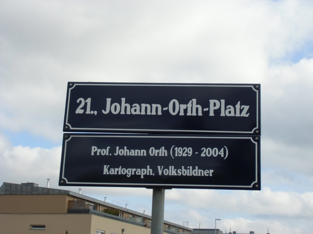 Johann Orth-Platz, Schild. Mehr ist von dem Platz noch nicht zu sehen (10-2012) - Johann-Orth-Platz, Wien (1210-W)