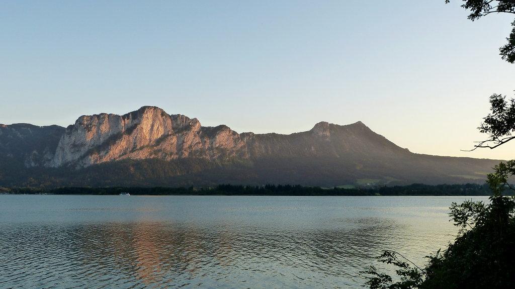Mondsee mit Drachenwand und Schober letzte Sonne - An der Drachenwand, Oberösterreich (5310-OOE)