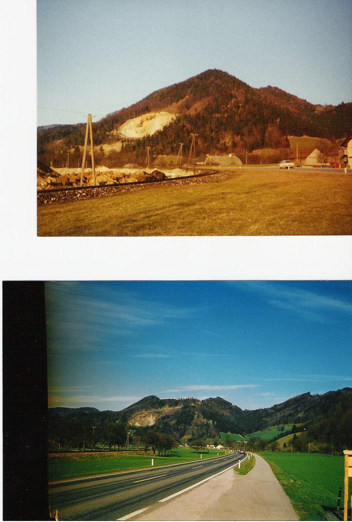 Peutenburg einst und jetzt Abbau des Schotters im Landschaftsschutzgebiet - Miesenbach, Niederösterreich (3270-NOE)