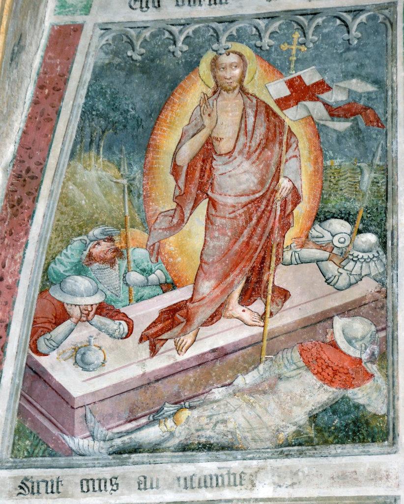 Auferstehung (Fresko von Thomas von Villach aus dem Jahr 1527) an der Nord-Wand der Pfarrkirche Heiliger Andreas - Thörl-Maglern-Greuth, Kärnten (9602-KTN)