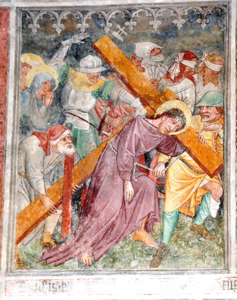 Kreuztragung (Fresko von Thomas von Villach aus dem Jahr 1527) an der Nord-Wand der Pfarrkirche Heiliger Andreas - Thörl-Maglern-Greuth, Kärnten (9602-KTN)