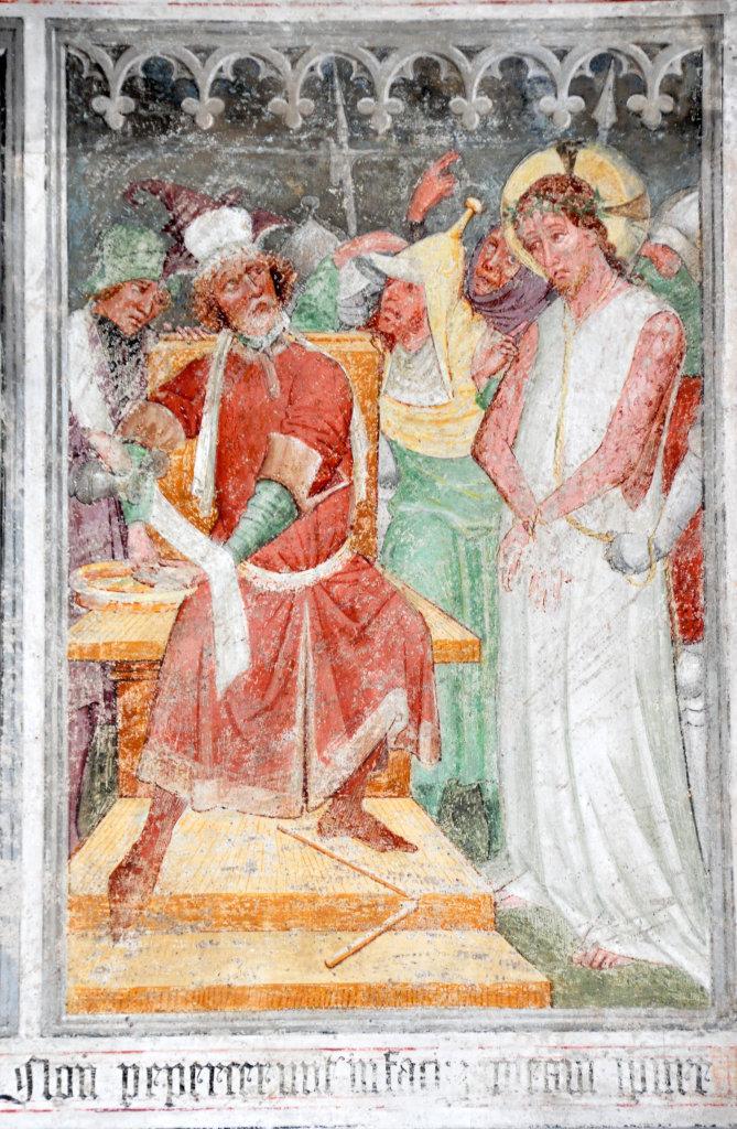 Handwaschung des Pilatus (Fresko von Thomas von Villach aus dem Jahr 1527) an der Nord-Wand der Pfarrkirche Heiliger Andreas - Thörl-Maglern-Greuth, Kärnten (9602-KTN)