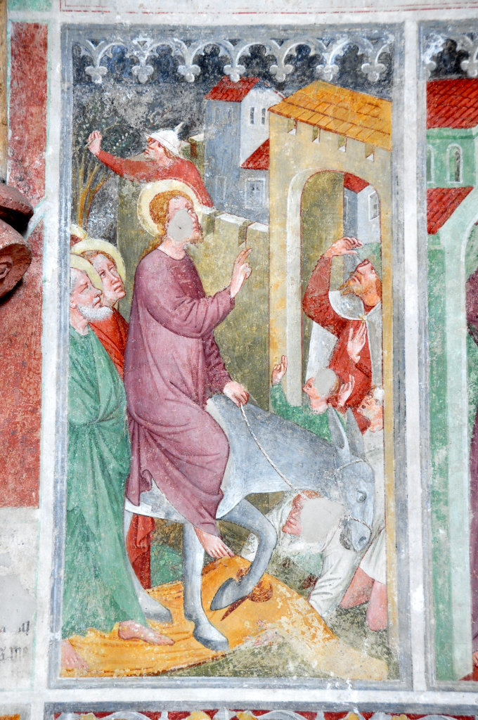 Einzug Christi in Jerusalem (Fresko von Thomas von Villach aus dem Jahr 1527) an der Nord-Wand der Pfarrkirche Heiliger Andreas - Thörl-Maglern-Greuth, Kärnten (9602-KTN)