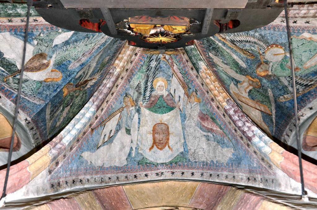 Heilige Veronika mit dem Schweißtuch Christi (Fresko von Thomas von Villach aus dem Jahr 1527) im Chorschluss der Pfarrkirche Heiliger Andreas - Thörl-Maglern-Greuth, Kärnten (9602-KTN)
