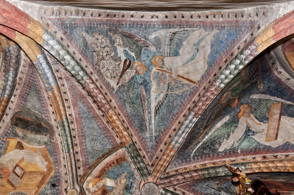Engel mit Harfe und Mandoline (Fresko von Thomas von Villach aus dem Jahr 1527) im Chorschluss der Pfarrkirche Heiliger Andreas - Thörl-Maglern-Greuth, Kärnten (9602-KTN)