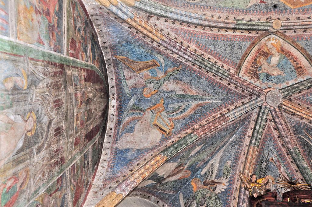Engel mit Clavicord und Portativ (Fresko von Thomas von Villach aus dem Jahr 1527) im Chorschluss der Pfarrkirche Heiliger Andreas - Thörl-Maglern-Greuth, Kärnten (9602-KTN)