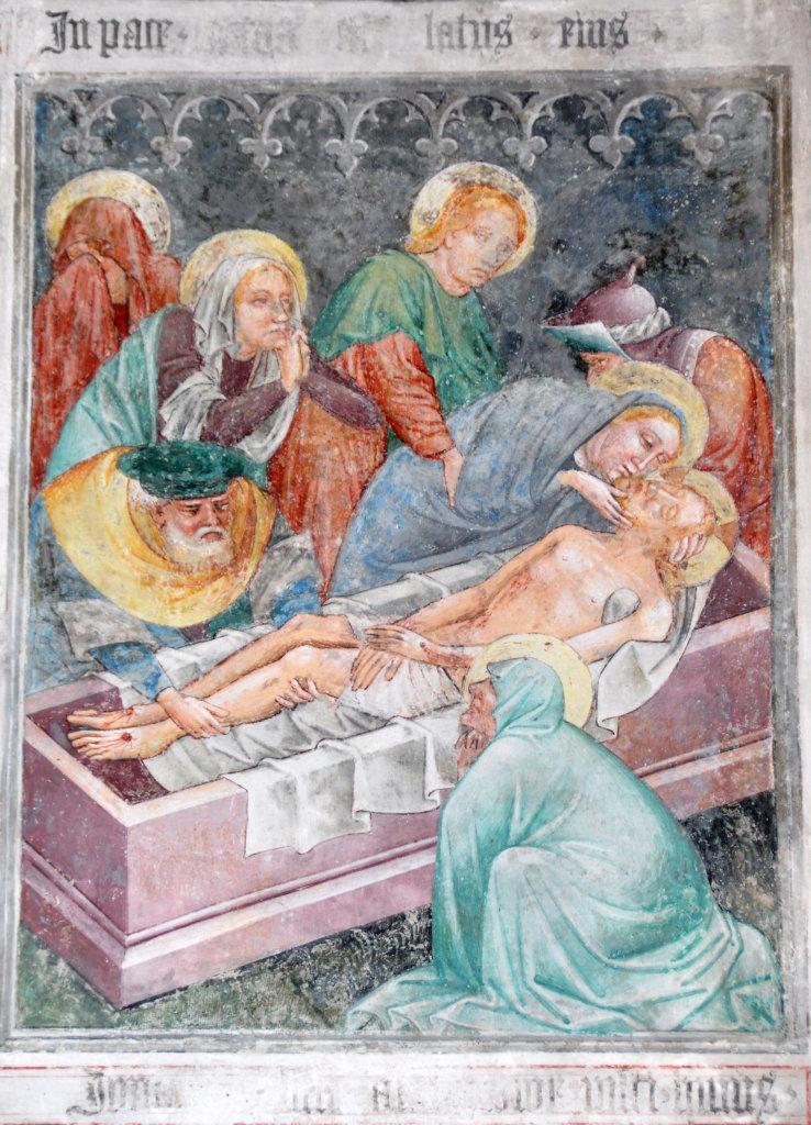 Grablegung und Beweinung (Fresko von Thomas von Villach aus dem Jahr 1527) an der Nord-Wand der Pfarrkirche Heiliger Andreas - Thörl-Maglern-Greuth, Kärnten (9602-KTN)