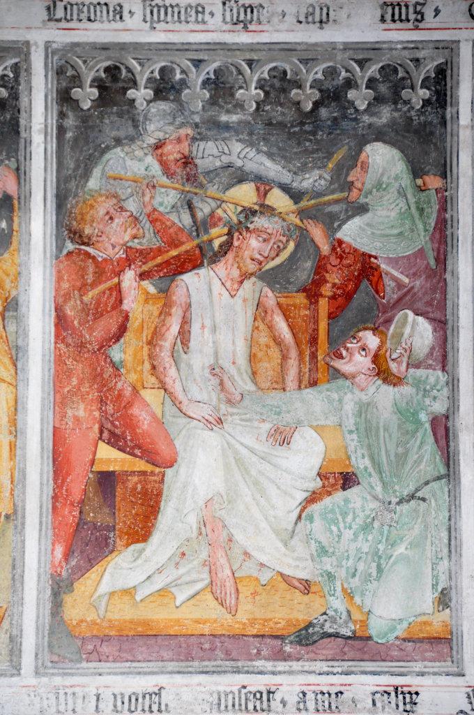 Dornenkroenung (Fresko von Thomas von Villach aus dem Jahr 1527) an der Nord-Wand der Pfarrkirche Heiliger Andreas. - Thörl-Maglern-Greuth, Kärnten (9602-KTN)