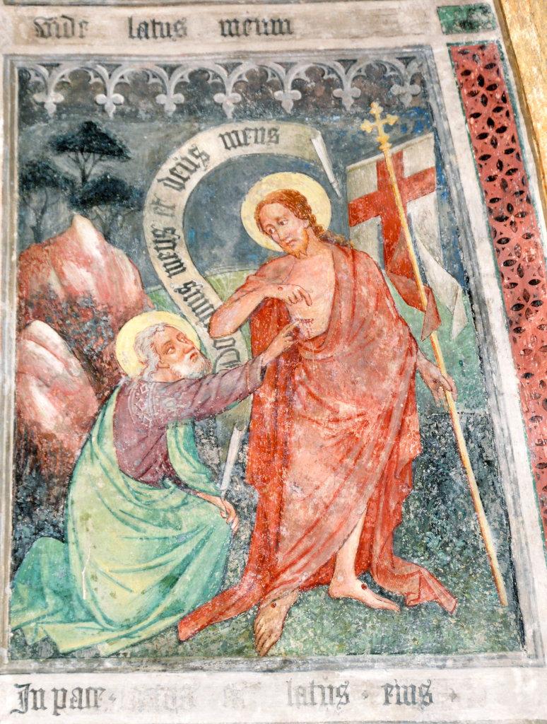 Christus und der ungläubige Thomas (Fresko von Thomas von Villach aus dem Jahr 1527) an der Nord-Wand der Pfarrkirche Heiliger Andreas - Thörl-Maglern-Greuth, Kärnten (9602-KTN)