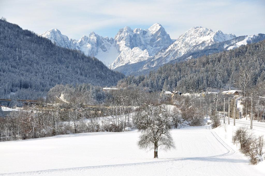 Blick von Unterthörl Richtung Montasch-Gruppe, westliche Julier südlich von Tarvis - Thörl-Maglern-Greuth, Kärnten (9602-KTN)