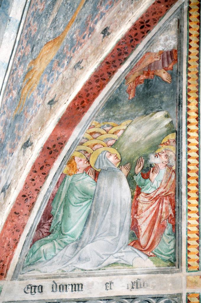 Himmelfahrt Christi (Fresko von Thomas von Villach aus dem Jahr 1527) an der Nord-Wand der Pfarrkirche Heiliger Andreas - Thörl-Maglern-Greuth, Kärnten (9602-KTN)