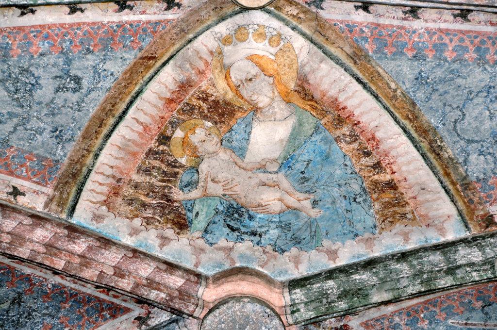 Maria mit dem Jesuskind (Fresko von Thomas von Villach aus dem Jahr 1527) im Chorschluss der Pfarrkirche Heiliger Andreas - Thörl-Maglern-Greuth, Kärnten (9602-KTN)
