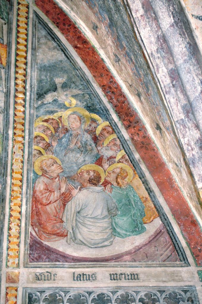 Pfingstfest (Fresko von Thomas von Villach aus dem Jahr 1527) an der Nord-Wand der Pfarrkirche Heiliger Andreas - Thörl-Maglern-Greuth, Kärnten (9602-KTN)