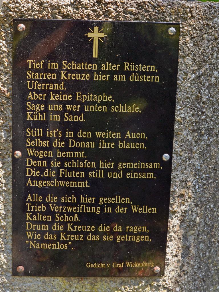 Friedhif der Namenlosen, Gedicht an der Kapellenmauer - Friedhof der Namenlosen, Wien (1110-W)