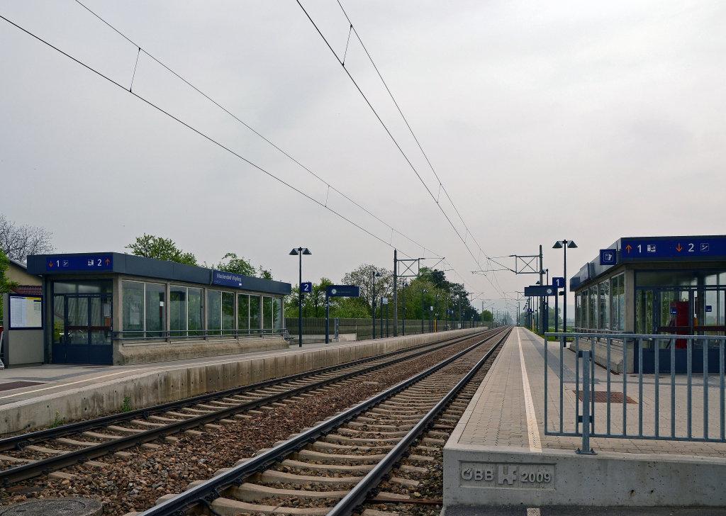 Bahnhof Muckendorf-Wipfling, Blick in Richtung Wien. - Muckendorf an der Donau, Niederösterreich (3424-NOE)