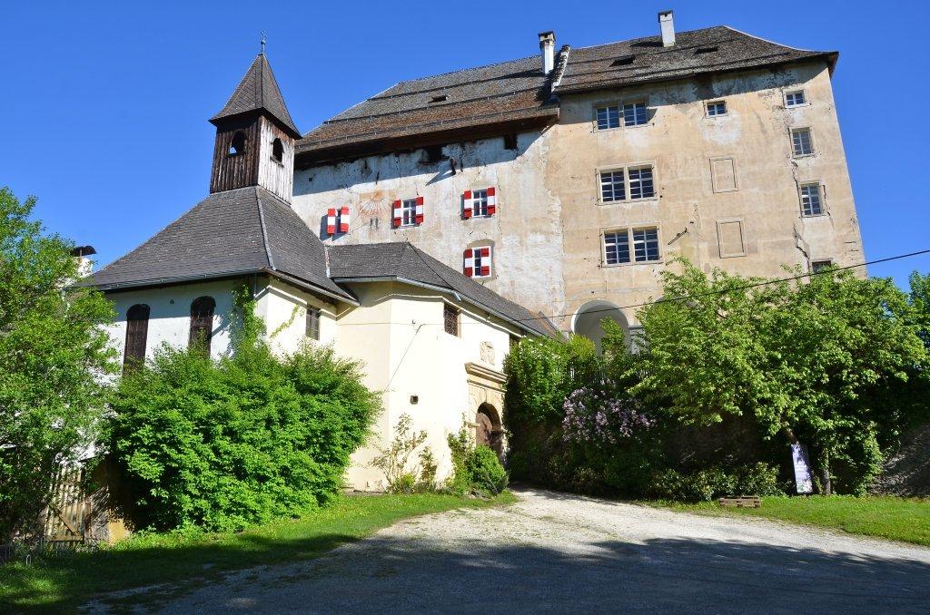 Schloss mit Kapelle, Süd-Ansicht - Moosburg, Kärnten (9062-KTN)