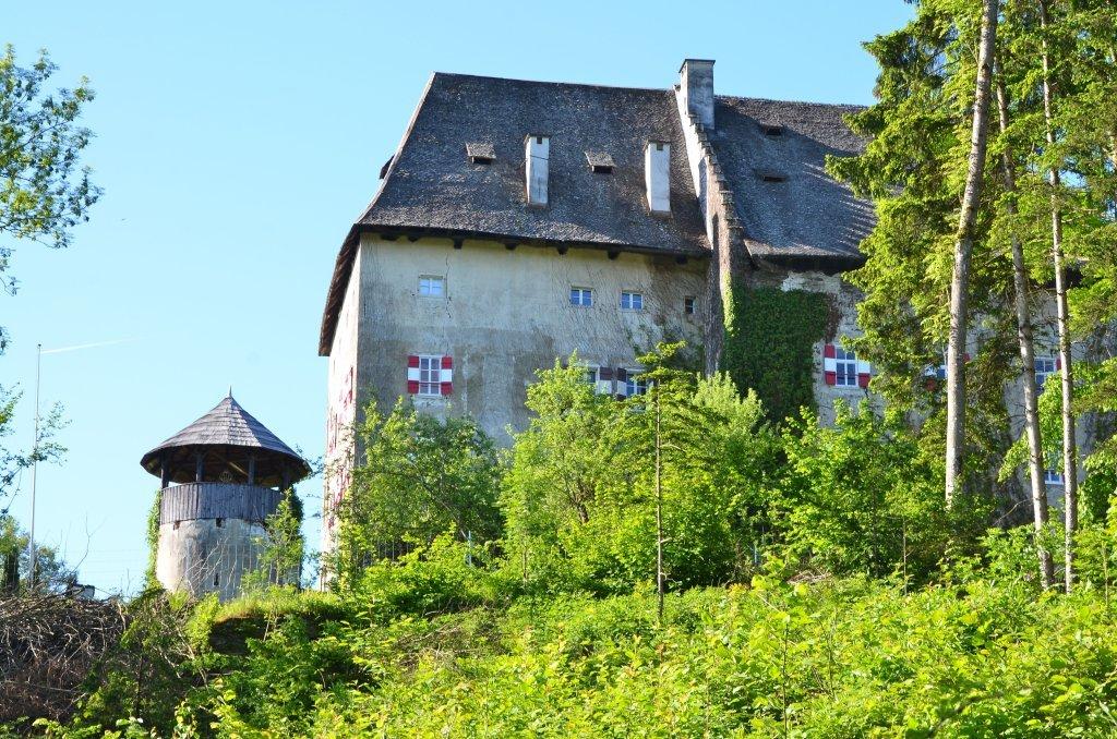 Schloss mit Rundturm, Nord-Ansicht - Moosburg, Kärnten (9062-KTN)