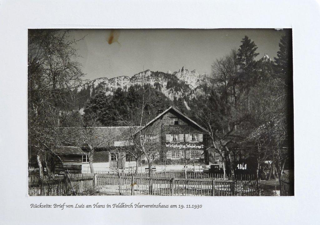 Gasünd 1920, Nachlass von Serafina Rosskopf, Karte von ihrem Bruder Luis an Bruder Hans Riedler - Gasünd, Vorarlberg (6700-VBG)