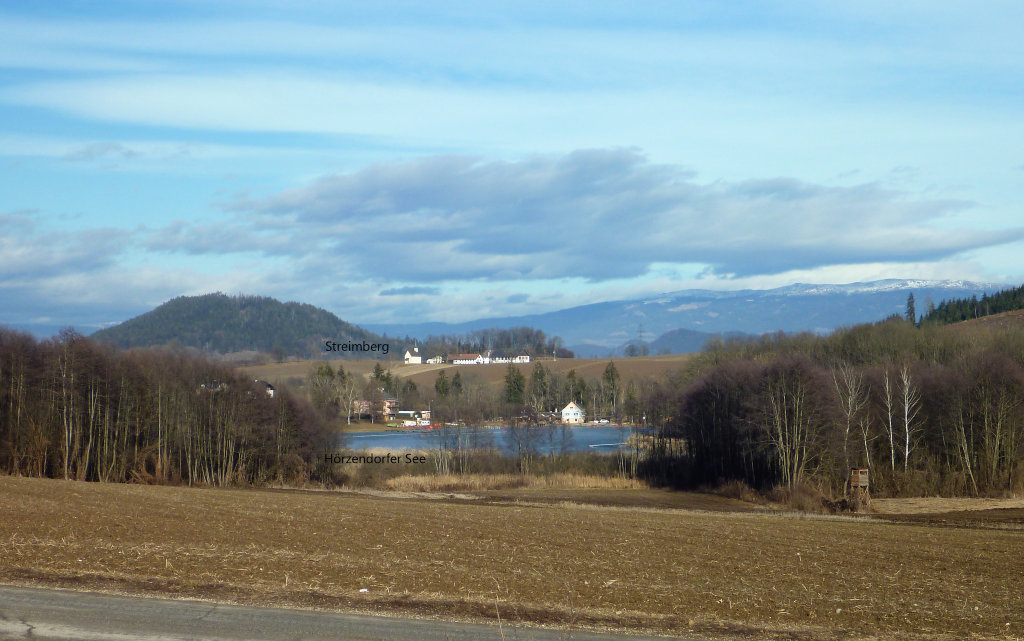 Streimberg und zugefrorener Hörzendorfer See. 1. 2. 2016 - Streimberg, Kärnten (9300-KTN)