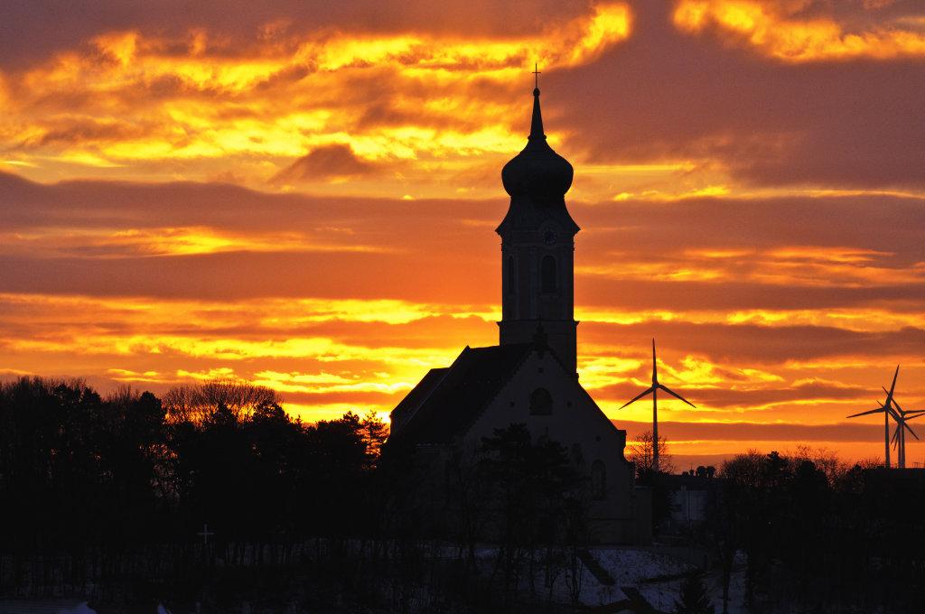 Sonnenaufgang im Winter, Kirchenberg Mistelbach - Mistelbach, Niederösterreich (2130-NOE)